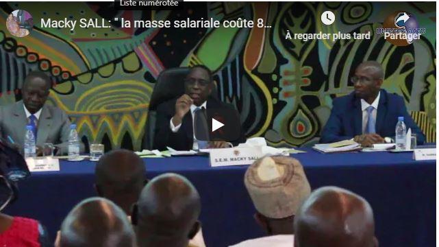 (Vidéo)Macky SALL: » la masse salariale coûte 80 milliards FCFA par mois à l'état du Sénégal»