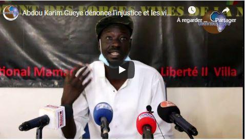 Abdou Karim Gueye dénonce l'injustice et les violences policières