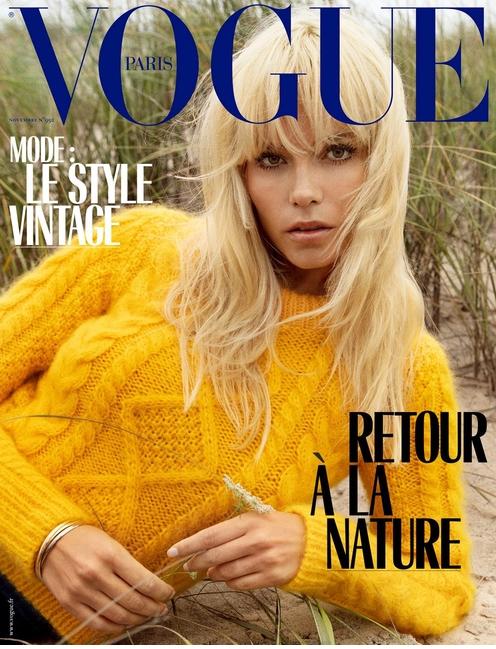 Natasha Poly en couverture du numéro de novembre de Vogue Paris