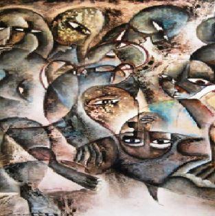 Une cinquantaine de toiles semi-abstraites réalisées par la plasticienne sénégalaise Fatou Kiné Diakhaté
